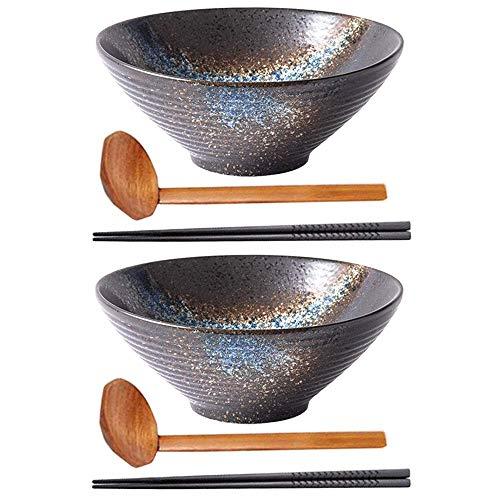 HAOQI 2 Juegos (6 Piezas) de Cuencos de Fideos, Cuenco de cerámica japonés para Servir con Cuchara y Palillos a Juego, para Sopa, Fideos, Pho, Udon y Soba (8 Pulgadas)