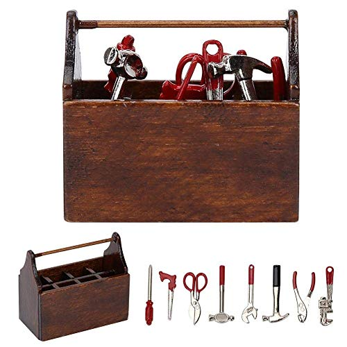 Cassetta degli Attrezzi in Miniatura 1:12 Accessori per Casa Bambole Mini Legno Modelli Toolbox Ornamento Simulazione Giocattoli Decorativi Bambini Fa