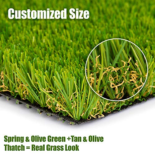 SMARTLAWN PROFESSIONAL Realistic Artificial Grass/Turf 7'X13' 1.25in Pile Height Carpets for Indoor and Outdoor Use,Soft and Lush Natural Looking Synthetic Mats