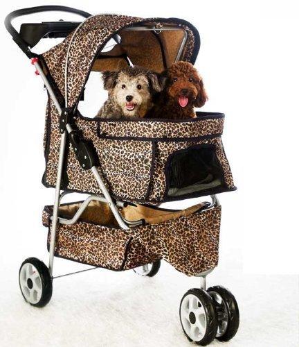 New Extra Wide Leopard Skin 3 Wheels Pet Dog Cat Stroller