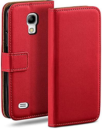 moex Klapphülle für Samsung Galaxy S4 Mini Hülle klappbar, Handyhülle mit Kartenfach, 360 Grad Schutzhülle zum klappen, Flip Case Book Cover, Vegan Leder Handytasche, Rot