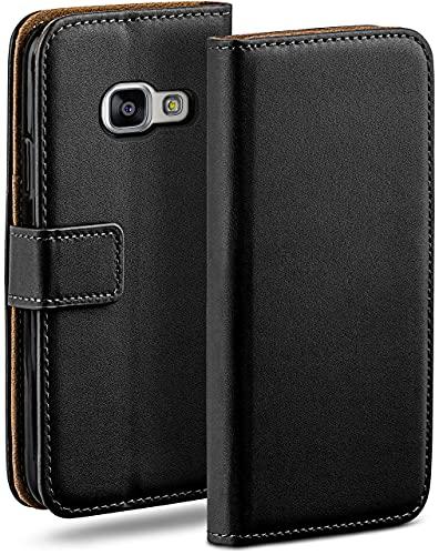 moex Klapphülle kompatibel mit Samsung Galaxy A5 (2016) Hülle klappbar, Handyhülle mit Kartenfach, 360 Grad Flip Hülle, Vegan Leder Handytasche, Schwarz