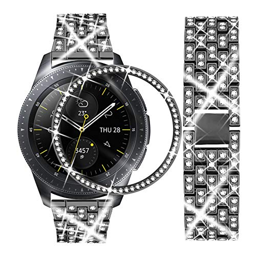 Dsytom Compatible with Galaxy Watch 42mm Band Women+ Bezel, 20mm Jewelry Stainless Steel Watchband & Bezel Ring Cover Diamond Strap Bracelet for Samsung Galaxy Watch 42mm/Gear Sport(Black)