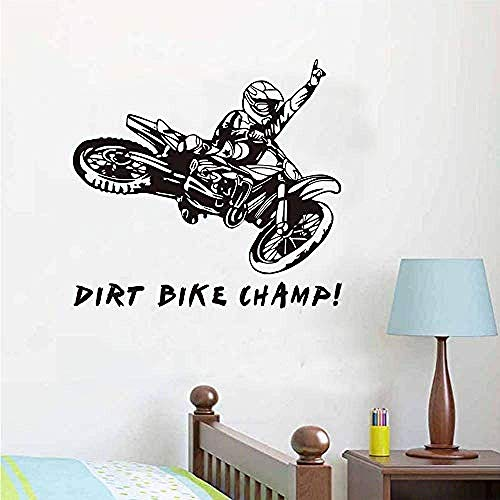Citate Dirt Bike Champ Motorrijder Muursticker Creative Vinyl Klever Afneembare Motorfiets Muursticker 58x62cm