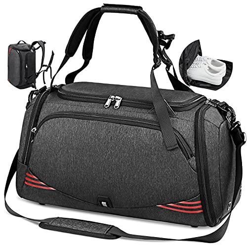 Sporttasche Reisetasche mit Schuhfach Groß 40L 65L Trainingstasche Gym Fitness Sport Tasche mit Rucksack-Funktion Handgepäck Weekender Bag Herren Damen - Schwarz