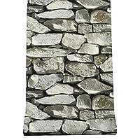 装飾的な壁紙 PVC.レンガのパターンの壁紙ホテルカフェエグゼクティブ商業レトロなノスタルジック石の柄壁紙ブルーグレー 家の装飾