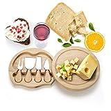 COSTWAY Käsebrett mit 4tlg. Besteck, Käseset aus Holz, Käseplatte multifunktional, Käsemesserset, Käseschneidbrett, Käsemesser Set, Servierplatte