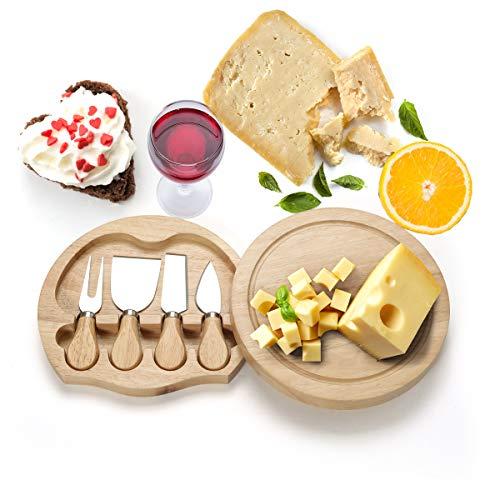 COSTWAY Käsebrett mit 4tlg. Besteck, Käseset aus Holz, Käseplatte multifunktional, Käsemesserset, Käseschneidbrett, Käsemesser Set, Servierplatte(rund)