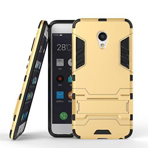 pinlu Hülle Für Meizu MX6 Raffinierte Kombination aus Rutschfestem TPU- Und Gehärtetem Polycarbonat Hülle 2-Lagen Hybrid Hard Cover Schutzhülle Gold