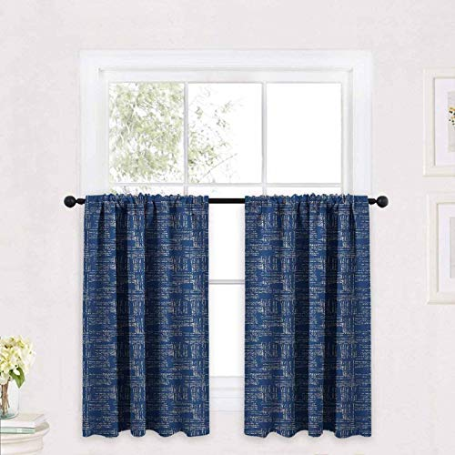 ScottDecor Blue and White Tier Curtains Watercolor Style Tie Dye Grid Indonesian Grunge Stripy Composition 30 x 45 inch Rod Pocket Valance Curtains Drapes Tier
