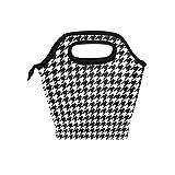 Bolsa de almuerzo aislado negro blanco Plover caso refrigerador caja de asas cremallera para hombres mujeres niño niña niño escuela oficina bolsa reutilizable