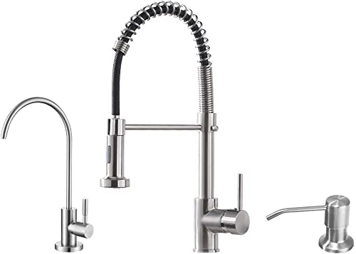 lowest OWOFAN Brushed Kitchen Faucet sale Including Stainlees Steel Drinking new arrival Water Faucet, and Copper Soap Dispenser outlet online sale