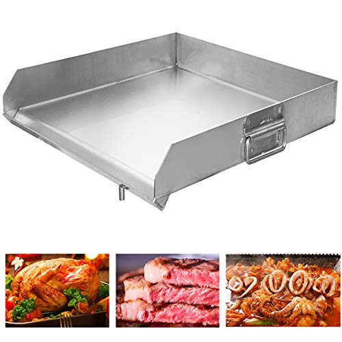 """Minneer SUS304 100% Stainless Steel Universal Griddle 18""""x18"""" Flat Top Griddle with Even Heat Cross Bracing and Integral Handles for Charcoal/Gas Grills, Camping, Tailgating, and Parties"""