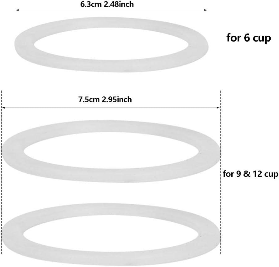 12 Taza 1 Embudo de Acero Inoxidable con 1 Repuesto Filtro Inoxidable 3 Paquetes de Sellos de Junta Kits de Embudo de Caf/é Compatibles con Moka Express Embudo de Repuesto para M/áquina de Caf/é