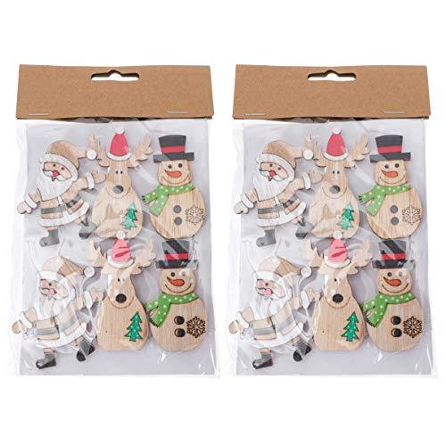 Toyvian 12Pcs Weihnachten Wäscheklammern Schneemann Elch Santa Claus Figur Winzige Holzklammer DIY Namenskarte Memo Büroklammer Goodie Bag Füller für Home Shop Cafe