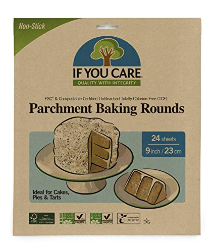 If You Care Parchment Paper Rounds for Baking Cakes, Pies, Tarts – 20 Pack of 24 CT Circle Liners - Unbleached, Chlorine Free, Greaseproof, Silicone Coated – 9 Inch Diameter