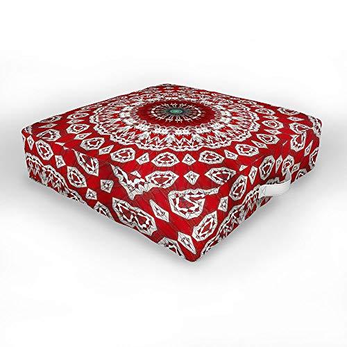 Society6 Sheila Wenzel-Ganny Red White Bohemian Mandala Indoor/Outdoor Floor Cushion, 26' x 26'