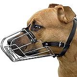BRONZEDOG Pitbull Dog Muzzle Wire Basket Amstaff Pit Bull Metal Mask Adjustable Leather Straps (M)