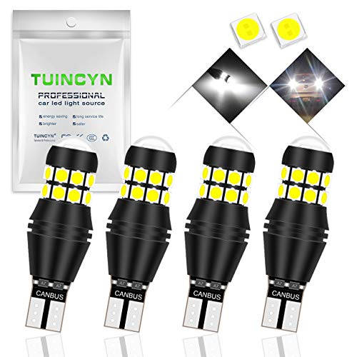 TUINCYN T15 W16W Ampoule LED CANBUS 3030 20 SMD LED de recul 2000 LM extrêmement Lumineuse 912 921 LED de recul Ampoule LED de stationnement Blanc 6500K (Lot de 4)