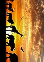 igsticker ポスター ウォールステッカー シール式ステッカー 飾り 841×1189㎜ A0 写真 フォト 壁 インテリア おしゃれ 剥がせる wall sticker poster 012576 動物 シルエット 夕焼け