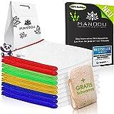 LÖWENKÖNIG® - MANDOU Edition 2021 - Edle Putztücher Bunt aus 100prozent Bambus [9 STÜCK] - Ideal geeignet für Küche, Bad, Haushalt und Fenster Reinigung