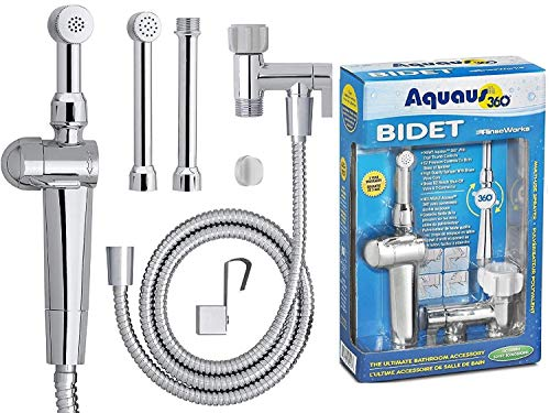 "RinseWorks - Aquaus 360 Hand Held Bidet sprayer for Toilet - NSF cUPC Certified for Legal Installation - 2 BackFlows - Dual Pressure Controls – 3"" to 11"" Spray reach - 3 Year Warranty (Brass Sprayer)"