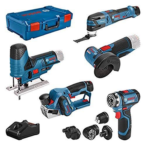 Bosch Professional 12V - atornillador GSR 12V-15 FC +cepillo GHO 12V-20 +amoladora GWS 12V-76 +sierra de calar GST 12V-70 +multiherramienta GOP 12V-28 (3 baterías, XL-BOXX)