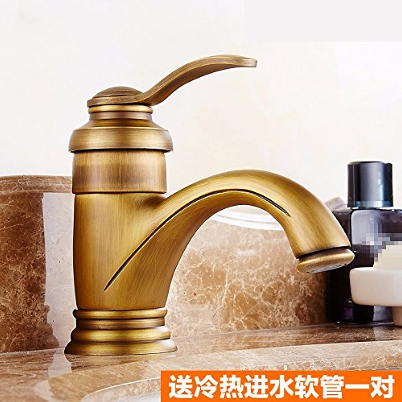 STAZSX European-style retro copper faucet hot and cold faucet pure copper brushed faucet indoor faucet, antique A