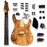 BexGears DIY 7 String Electric Guitar Kits Burl poplar veener top okoume Body maple neck & composite ebony fingerboard You Build The Guitar