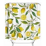 Cortina de la ducha 4 piezas de cortina de ducha de árbol de limón natural set tela de poliéster impermeable d cortina de ducha de agua a prueba de agua funda de cojín funda de cojín de baño