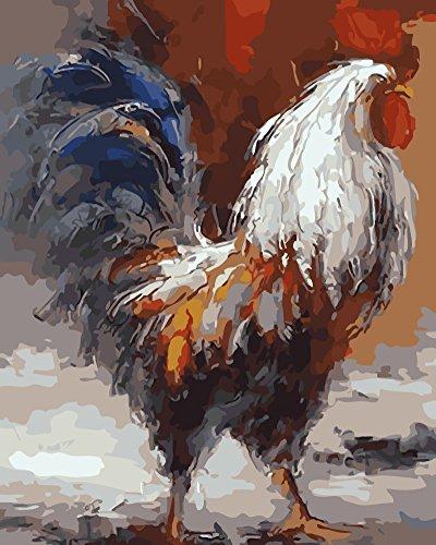wowdecor Malen nach Zahlen Kits für Erwachsene Kinder, Anzahl Gemälde–Rooster 40,6x 50,8cm, canvas, Rooster, Frameless