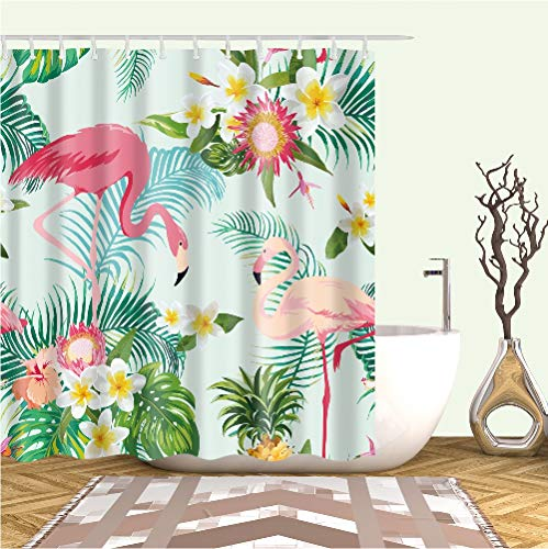 YONG-SHENG Aquarell Tropische Blätter Flamingo Duschvorhang Wasserdicht und Mildewproof Digital Gedruckt Polyester Gewebe Wohnaccessoires Eingestellt mit Haken 180cm x 180cm (Style 3)