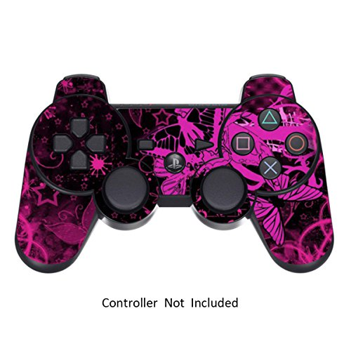 PS3 Controller Skin Stickers- Custom Sony Playstation 3 Remote Vinyl High Gloss Sticker - Play Station 3 Joystick Decal - Pink Butterfly by GameXcel  [ Controller Not Included ]