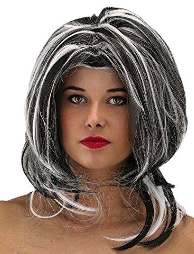 Folat 26743 Perruque avec de Longs bouclés – Taille Unique – Noir/Blanc