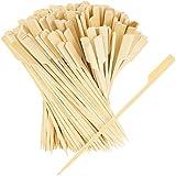 COM-FOUR® Brochetas 300x Fingerfood hechas de madera de bambú - brochetas de madera con superficie de mango ancho - brochetas de barbacoa para el hogar, buffet o gastro (300 piezas - 18 cm)