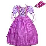 Lito Angels Niñas Disfraces de Princesa Rapunzel Disfraces de Fiesta de Disfraces de Halloween con Guante Talla 6-7 años