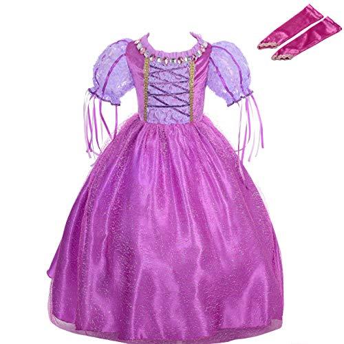 Lito Angels Costume da Principessa Rapunzel per Bambina, Vestito da Festa di Halloween e Compleanno, con Guanti da Braccio, Taglia 4-5 Anni