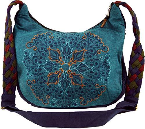 GURU SHOP Ethno Schultertasche, BohoTasche Mandala, Nepal Tasche - Petrol, Herren/Damen, Blau, Baumwolle, Size:One Size, 26x33x5 cm, Alternative Umhängetasche, Handtasche aus Stoff