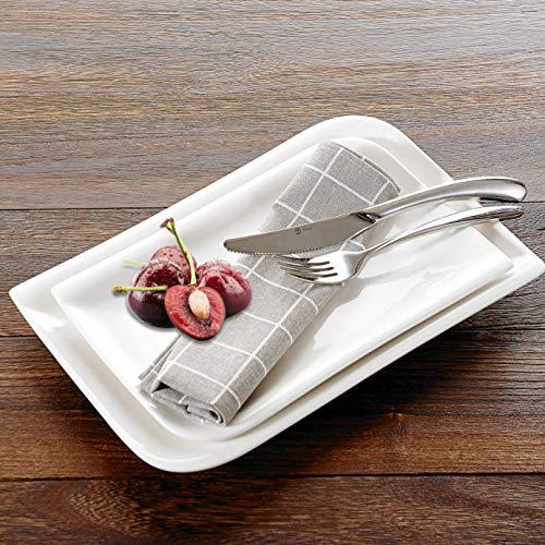 Vancasso Porzellan Platten, Yolanda Rechteckige Teller, 2-teilig in Weiß, Servierplatte für Tafelservice