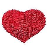 Alfombrilla de baño cómoda y suave en forma de corazón de F y Z; alfombra para puerta, alfombra, Red 40*60cm, talla única