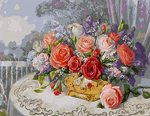 Flowers painted by numbers, hand-painted art gift, suitable for adults, children, zero basis, with brush, acrylic paint D-4 60x75cm