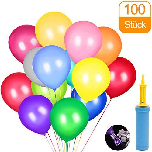 Luftballons, Pump und Ballon-Klipp, Luftballons Bunt Geeignet für alle Arten von Feierlichkeiten - 100 Stück
