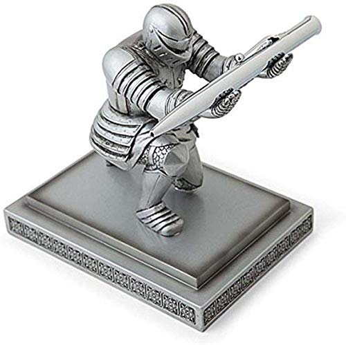 PEN KIT MALL Executive Kneeling Knight Pen Holder - Fancy Black-Inked Pen with Refillable Ink Included - A PKM Creation (Silver)