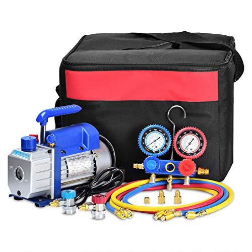 Kwasyo 3CFM Einstufige Vakuumpumpe (3CFM,1/4HP) für HVAC / Auto AC Kältemittelaufladung, Vakuumpumpe Klimaanlage, Manifold Gauge Set Auto Klimaanlage Für R134A R12 R22 R502