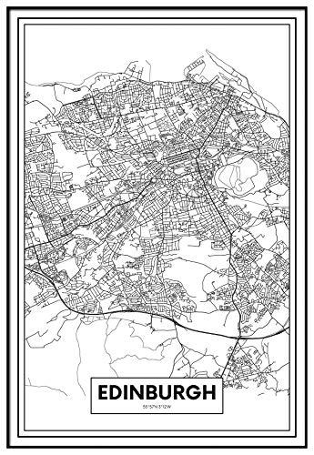Panorama Cuadro Enmarcado Mapa Ciudad Edimburgo 21x30cm - Impreso en Papel Rígido Cuadro con Marco - Cuadros Modernos Decoración Salón - Cuadros para Dormitorio - Póster Decorativos