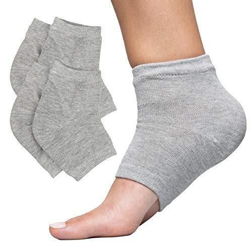 ZenToes Moisturizing Heel Socks 2 Pairs Gel Lined Toeless Spa Socks to Heal and Treat Dry, Cracked Heels While You Sleep (Regular, Gray)