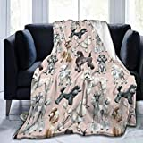 DCBAPRJKE Oodles of Poodles Printed Micro Fleece Flannel Throw Blanket,50'X40' Soft Warm Cozy Microfiber Plush Blanket for Bedroom Living Room Couch Bed Sofa for Kids Adults All Seasons