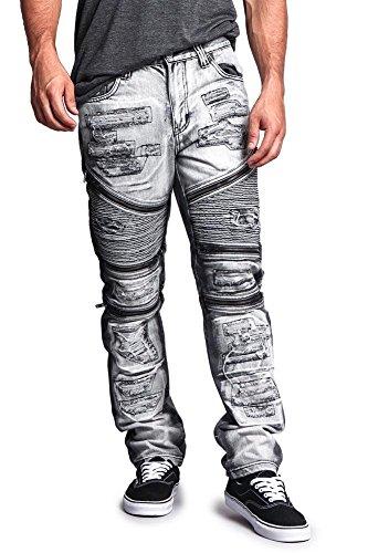 G-Style USA Men's Biker Distressed Wash Slim Jeans DL1010 - Black - 36/32 - G19C