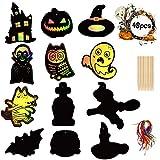 Halloween Kratzbilder Bastelset für die Gruselparty, Fensterdeko