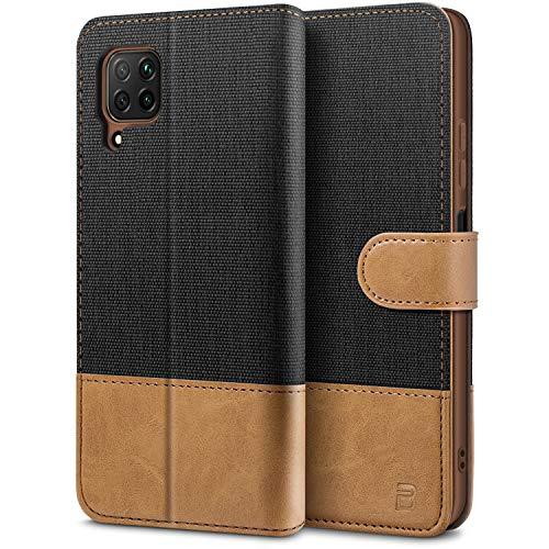 BEZ Handyhülle für Huawei P40 Lite Hülle, Tasche Kompatibel für Huawei P40 Lite, Schutzhüllen aus Klappetui mit Kreditkartenhaltern, Ständer, Magnetverschluss, Schwarz